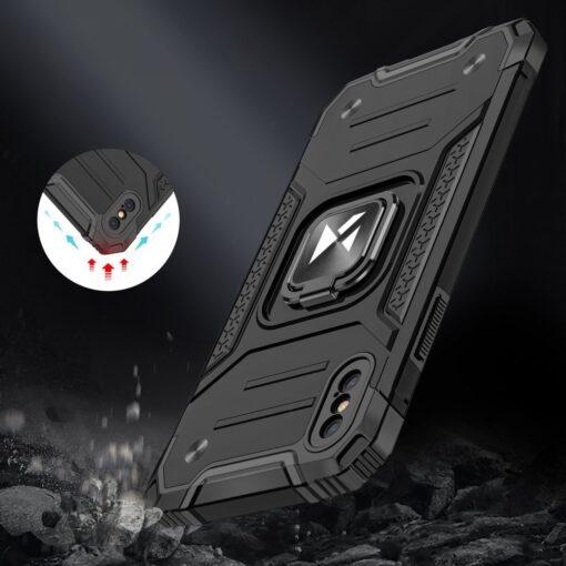 iPhone XS Max tugev umbris Ring Armor plastikust taguse ja silikoonist nurkadega must 6