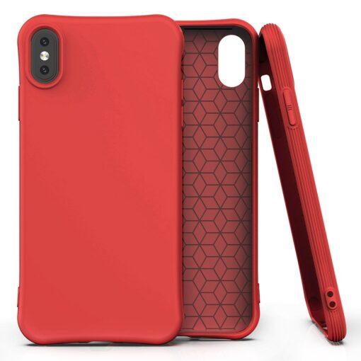 iPhone XS Max tugevdatud nurkadega silikoonist umbris punane