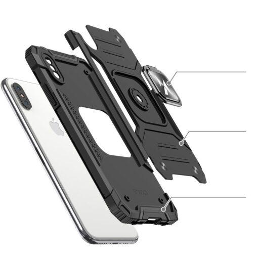 iPhone XSX tugev umbris Ring Armor plastikust taguse ja silikoonist nurkadega punane 2