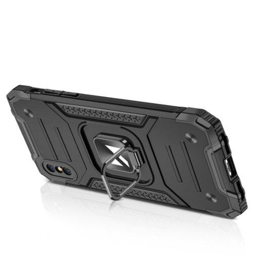 iPhone XSX tugev umbris Ring Armor plastikust taguse ja silikoonist nurkadega punane 3