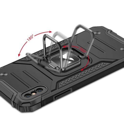 iPhone XSX tugev umbris Ring Armor plastikust taguse ja silikoonist nurkadega punane 4