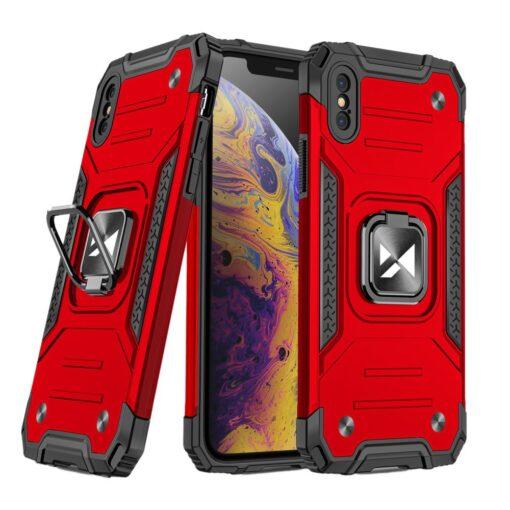 iPhone XSX tugev umbris Ring Armor plastikust taguse ja silikoonist nurkadega punane