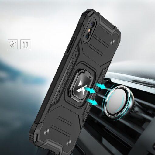 iPhone XSX tugev umbris Ring Armor plastikust taguse ja silikoonist nurkadega roosa 5