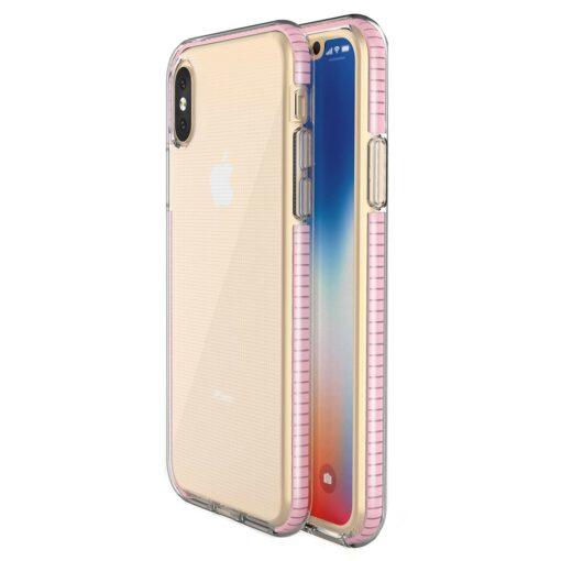 iPhone XSX umbris silikoonist varvilise raamiga roosa