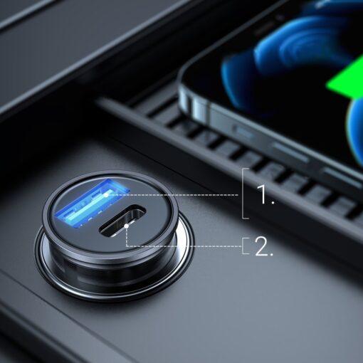 Autolaadija adapter sigaretisuutajasse USB C ja USB 20W 3A QC 3.0 PD AFC SCP 1