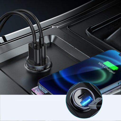 Autolaadija adapter sigaretisuutajasse USB C ja USB 20W 3A QC 3.0 PD AFC SCP 2