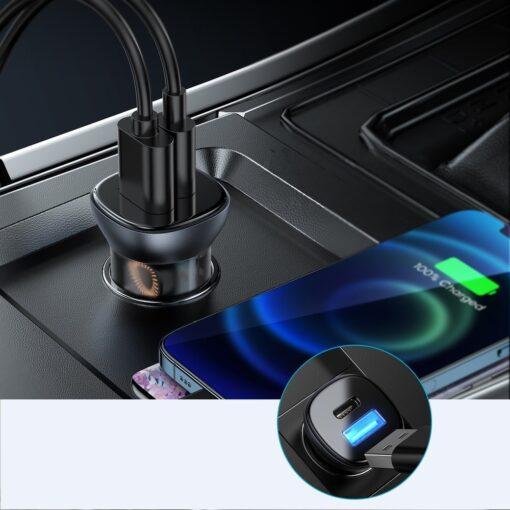 Autolaadija adapter sigaretisuutajasse USB C ja USB 38W 3A QC 3.0 PD AFC SCP 2
