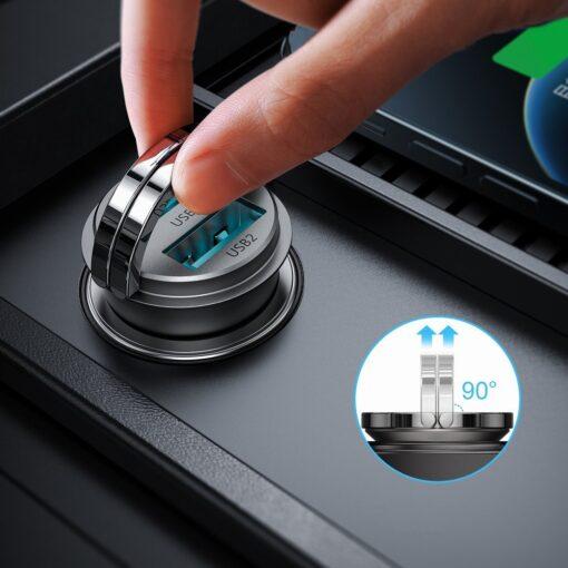 Autolaadija adapter sigaretisuutajasse USB C ja USB 45W 5A QC 3.0 PD AFC SCP 3