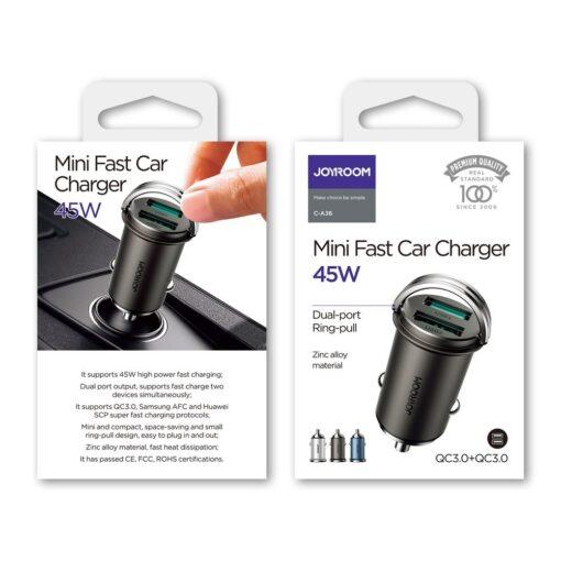 Autolaadija adapter sigaretisuutajasse USB C ja USB 45W 5A QC 3.0 PD AFC SCP 4