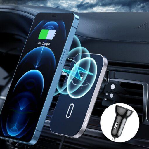 Juhtmevaba MagSafe autohoidik koos autolaadijaga 15W Choetech iPhonele must 2