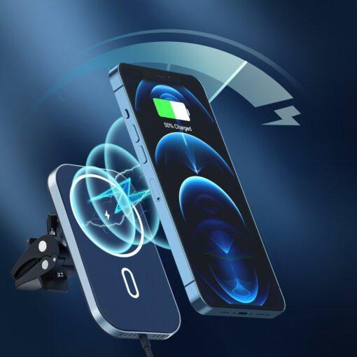 Juhtmevaba MagSafe autohoidik koos autolaadijaga 15W Choetech iPhonele must 3