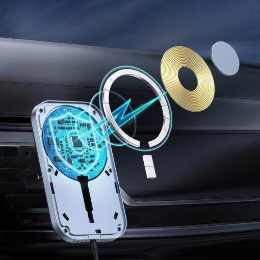 Juhtmevaba MagSafe autohoidik koos autolaadijaga 15W Choetech iPhonele must 4