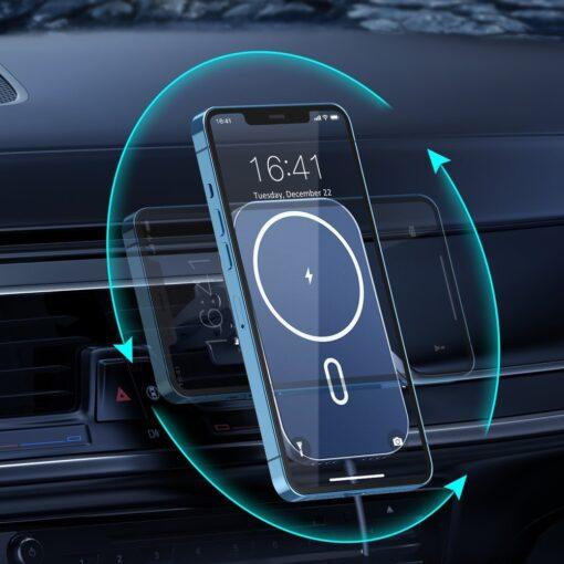 Juhtmevaba MagSafe autohoidik koos autolaadijaga 15W Choetech iPhonele must 5