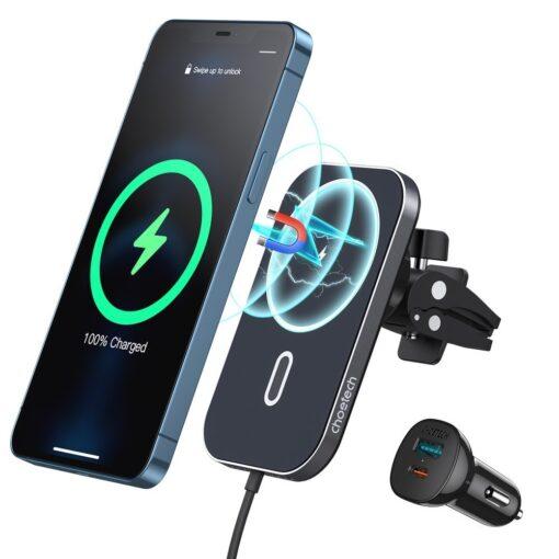 Juhtmevaba MagSafe autohoidik koos autolaadijaga 15W Choetech iPhonele must