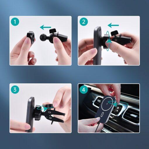 Juhtmevaba MagSafe autohoidik koos autolaadijaga 15W Choetech iPhonele must 7