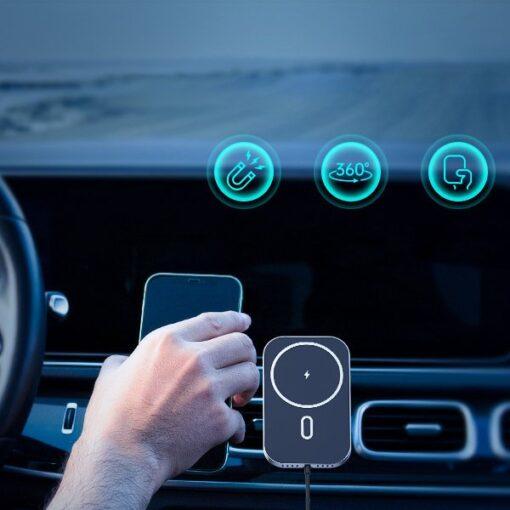 Juhtmevaba MagSafe autohoidik koos autolaadijaga 15W Choetech iPhonele must 8