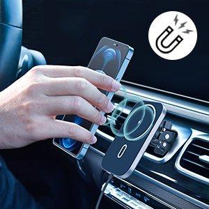 Juhtmevaba MagSafe autohoidik koos autolaadijaga 15W Choetech iPhonele must 9