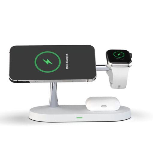 3in1 laadija iPhonele Watchile ja Airpodsidele valge 1