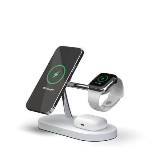 3in1 laadija iPhonele Watchile ja Airpodsidele valge