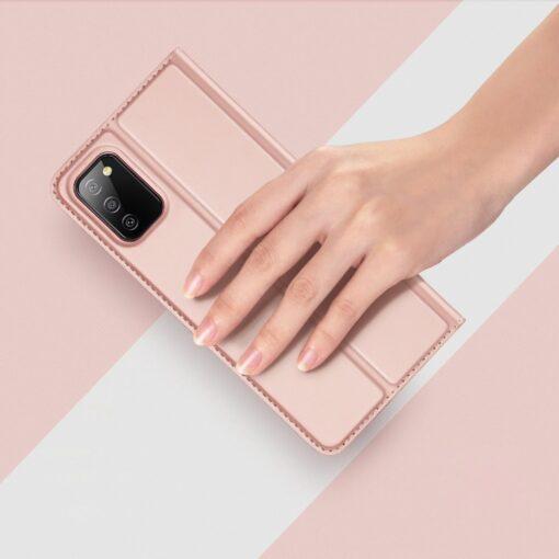 Samsung A02s kunstnahast kaaned DUX DUCIS Skin Pro Bookcase roosa 10