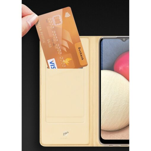 Samsung A02s kunstnahast kaaned DUX DUCIS Skin Pro Bookcase roosa 14
