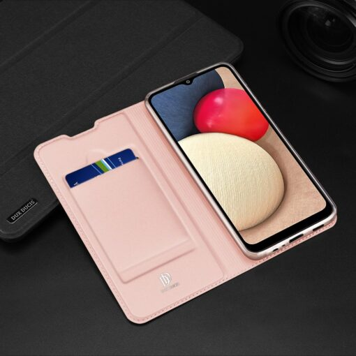 Samsung A02s kunstnahast kaaned DUX DUCIS Skin Pro Bookcase roosa 18