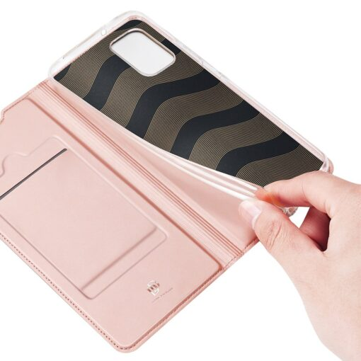 Samsung A02s kunstnahast kaaned DUX DUCIS Skin Pro Bookcase roosa 7