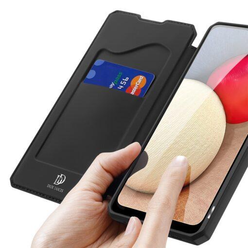 Samsung A02s kunstnahast kaaned kaarditaskuga DUX DUCIS Skin X must 2
