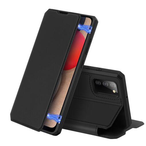 Samsung A02s kunstnahast kaaned kaarditaskuga DUX DUCIS Skin X must