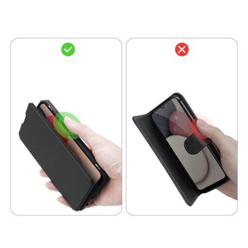 Samsung A02s kunstnahast kaaned kaarditaskuga DUX DUCIS Skin X must 7
