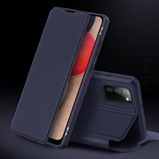 Samsung A02s kunstnahast kaaned kaarditaskuga DUX DUCIS Skin X sinine 10