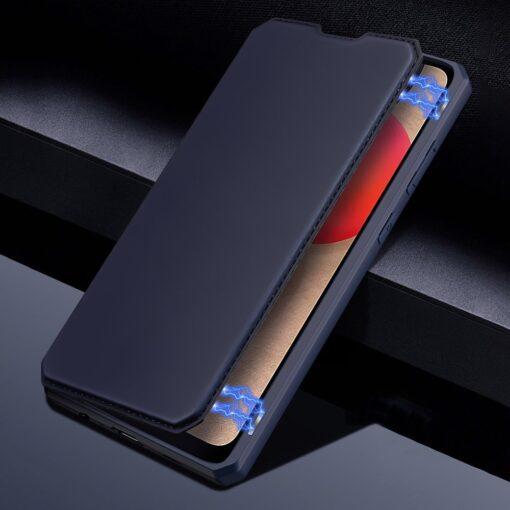 Samsung A02s kunstnahast kaaned kaarditaskuga DUX DUCIS Skin X sinine 11