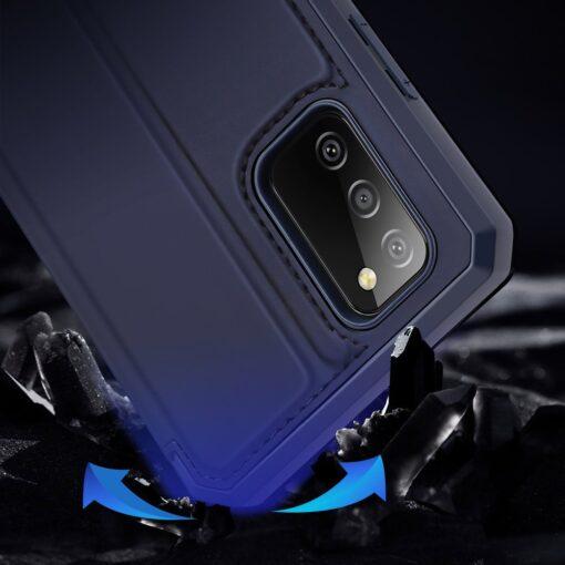 Samsung A02s kunstnahast kaaned kaarditaskuga DUX DUCIS Skin X sinine 12