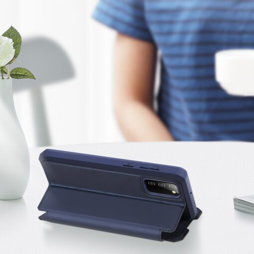 Samsung A02s kunstnahast kaaned kaarditaskuga DUX DUCIS Skin X sinine 15