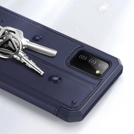 Samsung A02s kunstnahast kaaned kaarditaskuga DUX DUCIS Skin X sinine 16