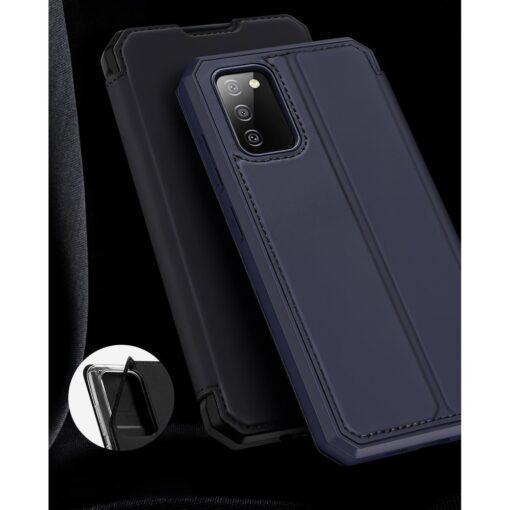 Samsung A02s kunstnahast kaaned kaarditaskuga DUX DUCIS Skin X sinine 17