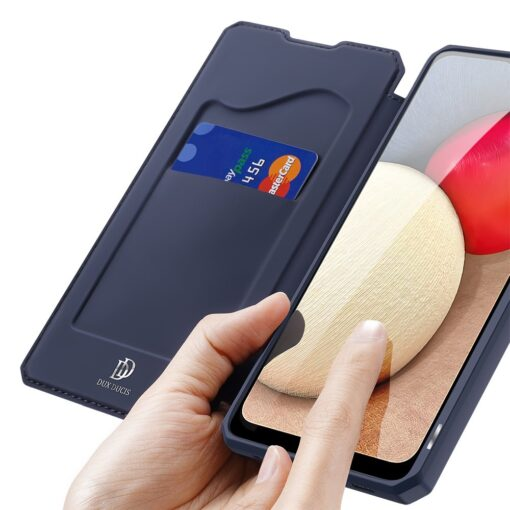 Samsung A02s kunstnahast kaaned kaarditaskuga DUX DUCIS Skin X sinine 2