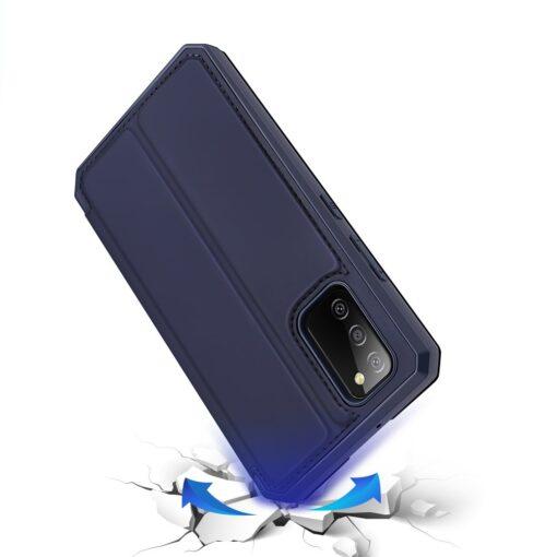 Samsung A02s kunstnahast kaaned kaarditaskuga DUX DUCIS Skin X sinine 3