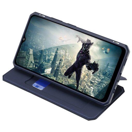 Samsung A02s kunstnahast kaaned kaarditaskuga DUX DUCIS Skin X sinine 4