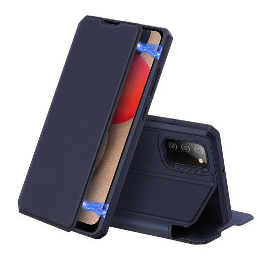 Samsung A02s kunstnahast kaaned kaarditaskuga DUX DUCIS Skin X sinine