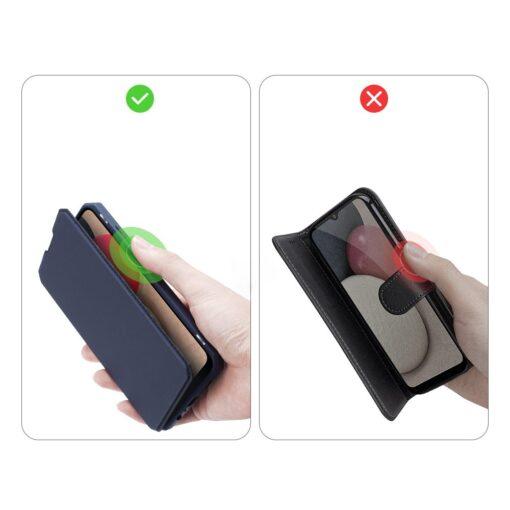 Samsung A02s kunstnahast kaaned kaarditaskuga DUX DUCIS Skin X sinine 7
