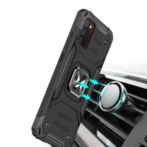 Samsung A02s tugev umbris Ring Armor plastikust taguse ja silikoonist nurkadega must 5