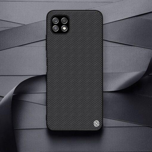 Samsung A22 5G Nillkin silikoonist ning nailoni tekstuuriga umbris must 12