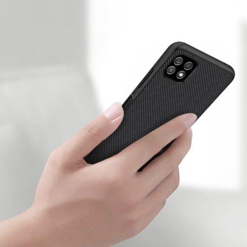 Samsung A22 5G Nillkin silikoonist ning nailoni tekstuuriga umbris must 6