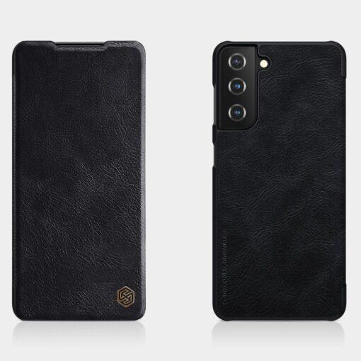 Samsung S21 PLUS kaaned Nillkin Qin nahast must 14