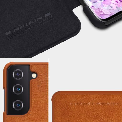 Samsung S21 PLUS kaaned Nillkin Qin nahast must 9